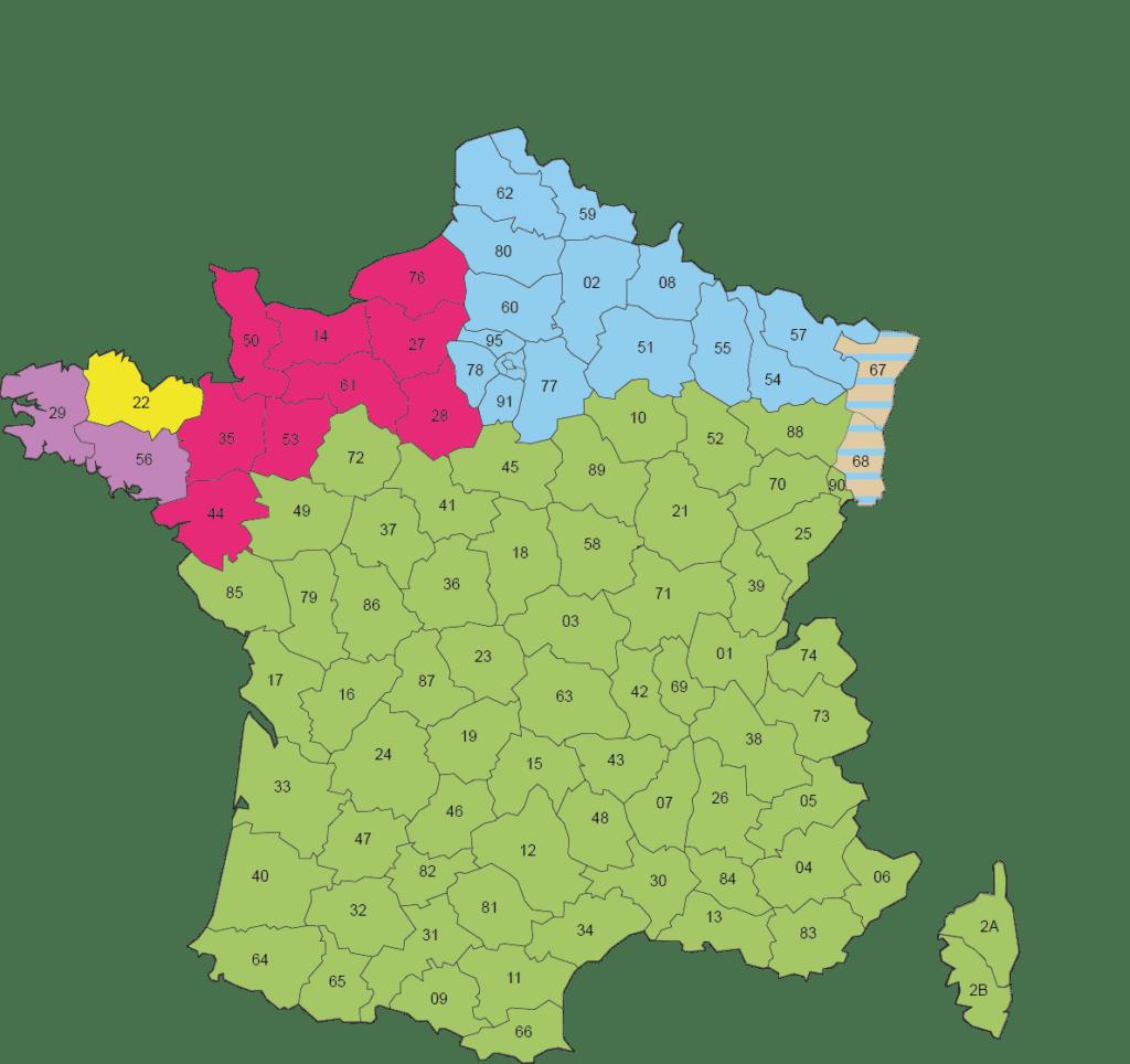 Carte répartition des secteurs